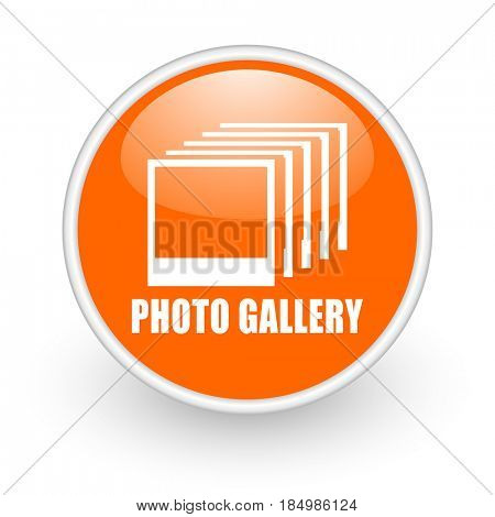 Photo gallery modern design glossy orange web icon on white background.