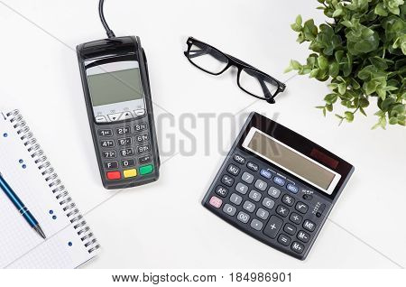 Office Desk Table With Payment Terminal And Calculator