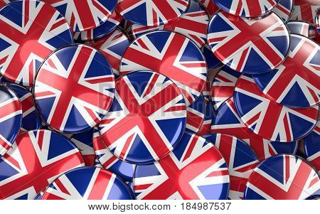 Great Britain Badges Background - Pile Of British Flag Buttons.