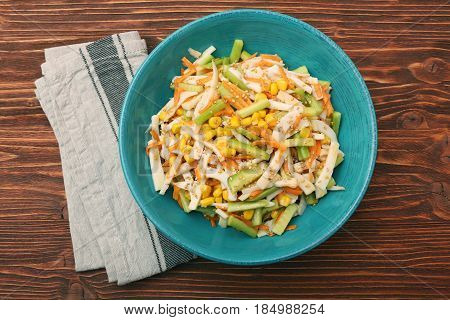Calamari salad with carrot and cucumber. Low carb healthy eating concept.