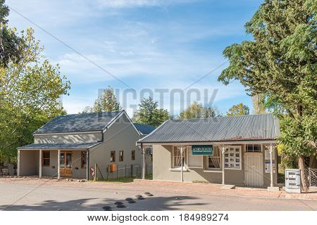 GREYTON SOUTH AFRICA - MARCH 27 2017: Historic buildings in Greyton a small town in the Western Cape Province of South Africa