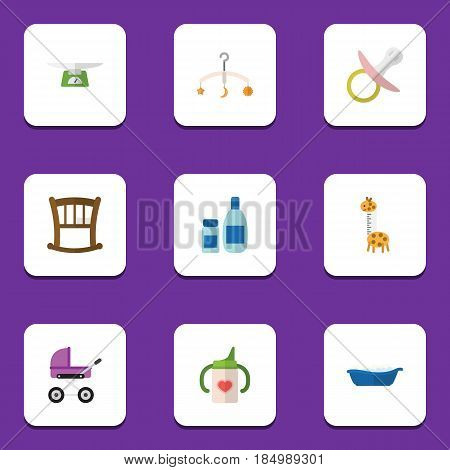 Flat Child Set Of Mobile, Stroller, Cream With Lotion And Other Vector Objects. Also Includes Nipple, Soothers, Pacifier Elements.