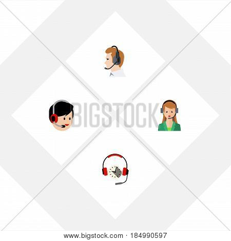 Flat Hotline Set Of Operator, Secretary, Headphone And Other Vector Objects. Also Includes Support, Telemarketing, Help Elements.