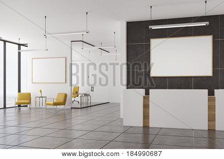 Empty Office, Yellow Armchairs And Reception