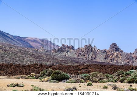 Most visited Roque Cinchado on Canary Islands, Spain. A unique rock formation and an emblematic of the island of Tenerife located near Teide Volcano