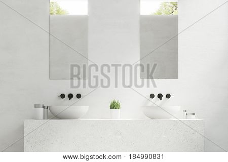 Two Bathroom Sinks With Mirrors, Close Up
