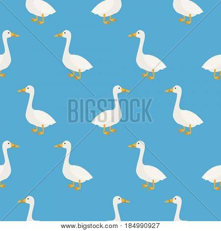 Blue cute geese seamless vector pattern. Farm birds simple rustic background texture.