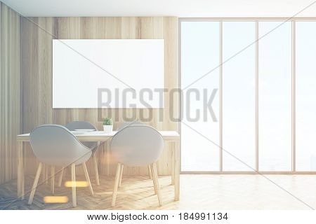 Light kitchen corner with dark wooden walls a horizontal poster hanging above a table with four chairs and a panoramic window. 3d rendering mock up toned image