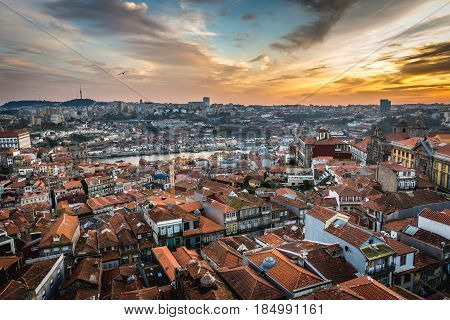 Cityscape of Porto Portugal seen from Clerigos Tower