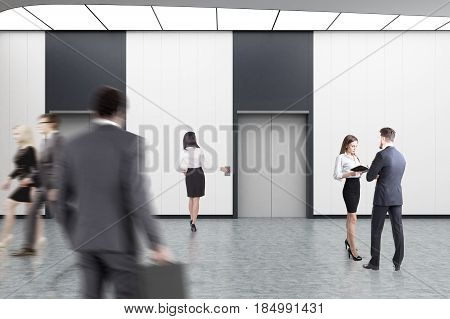 Business people are walking in an elevator hall with white walls concrete floor and two elevators with gray doors. 3d rendering
