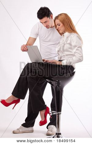 On Laptop Working Together