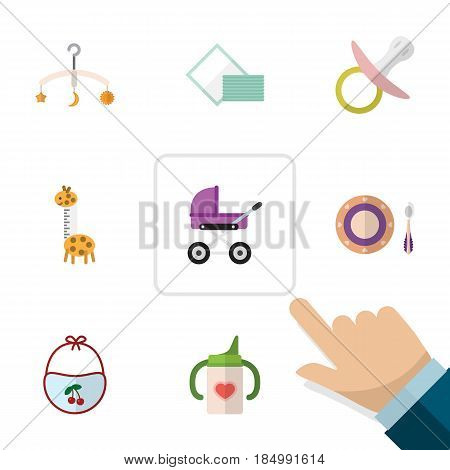Flat Baby Set Of Nursing Bottle, Pinafore, Stroller And Other Vector Objects. Also Includes Napkin, Tissue, Mobile Elements.