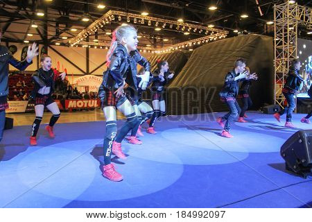 St. Petersburg Russia - 15 April, Dancing hip hop on stage,15 April, 2017. International Motor Show IMIS-2017 in Expoforurum. Dance show group of teenagers in the style of hip-hop.