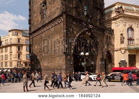 Prague, Czech Republic - April 21, 2017: The Prasna Brana Tower At The Namesti Republiky Square, Wit