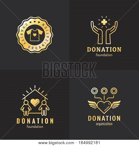 Donations and charity gold logo vintage vector set. Hipster and retro style. Part three.