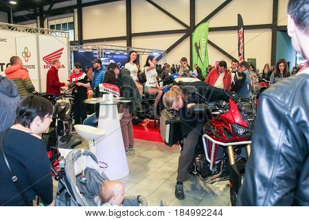 St. Petersburg Russia - 15 April, A crowd of people at a motor show,15 April, 2017. International Motor Show IMIS-2017 in Expoforurum. Visitors and participants of the annual moto-salon in St. Petersburg.
