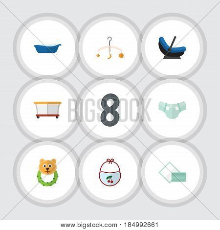 Flat Infant Set Of Rattle, Playground, Pinafore And Other Vector Objects. Also Includes Rattle, Bathing, Pram Elements.
