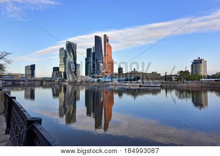 MOSCOW/ RUSSIA - MAY 1, 2017. Moscow International Business Center as seen from the embankment of Taras Shevchenko. Moscow, Russia