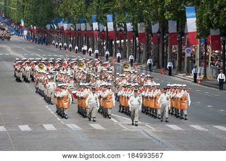 Paris France - July 14 2012. Soldiers - pioneers from the French Foreign Legion march during the annual military parade in honor of the Bastille Day.