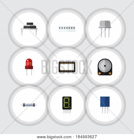 Flat Electronics Set Of Receptacle, Memory, Hdd And Other Vector Objects. Also Includes Resistor, Resist, Hdd Elements.