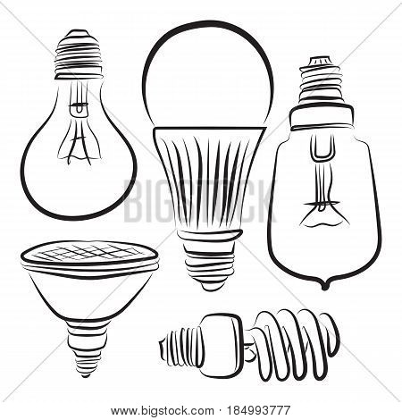 graphic design editable for your design, hand drawn lightbulb icon set in black outline isolated on white background. Vector Illustration.