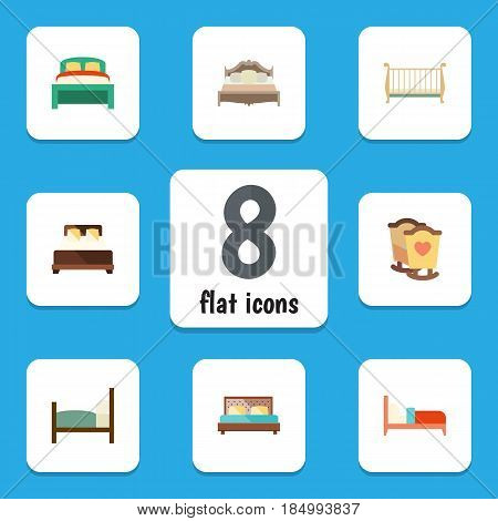 Flat Bedroom Set Of Bearings, Crib, Hostel And Other Vector Objects. Also Includes Double, Cot, Bed Elements.