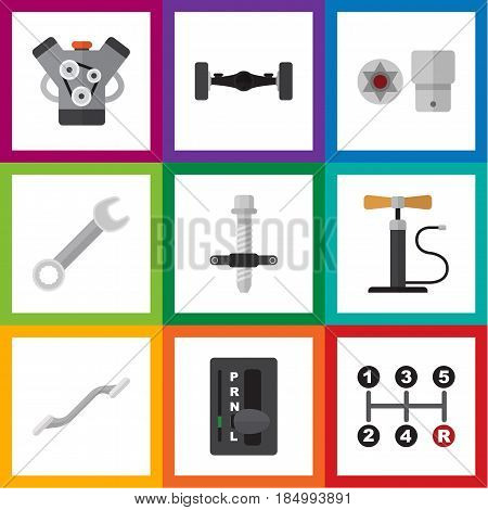Flat Workshop Set Of Suspension, Motor, Coupler And Other Vector Objects. Also Includes Wrench, Coupler, Suspension Elements.