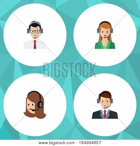 Flat Hotline Set Of Service, Help, Hotline And Other Vector Objects. Also Includes Operator, Secretary, Help Elements.