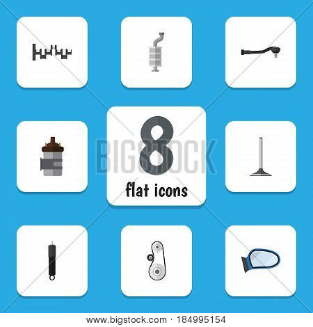 Flat Component Set Of Auto Component, Steels Shafts, Absorber And Other Vector Objects. Also Includes Cambelt, Absorber, Segment Elements.