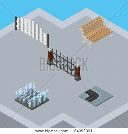 Isometric City Set Of Fence, Turning Road, Barricade And Other Vector Objects. Also Includes Hedge, Metal, Barricade Elements.