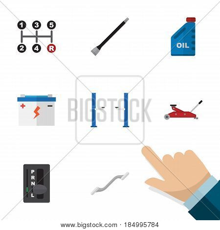 Flat Service Set Of Lifting, Automatic Transmission, Auto Jack And Other Vector Objects. Also Includes Accumulator, Pipeline, Transmission Elements.