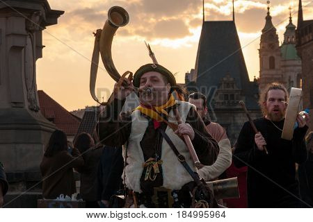 Participants Of A Costumed Parade In The Streets Of Prague On Witch Burning Night (