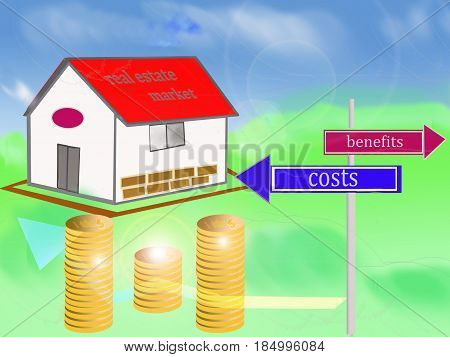 concept of real estate market with costs and benefits