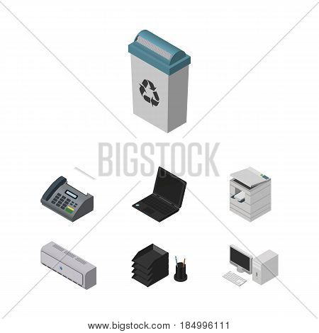 Isometric Business Set Of Scanner, Garbage Container, Laptop And Other Vector Objects. Also Includes Rack, Trash, Air Elements.