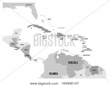 Central America and Carribean states political map in four shades of grey with black country names labels. Simple flat vector illustration.