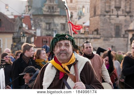 Prague, Czech Republic - April 30, 2017: Participants Of A Costumed Parade In The Streets Of Mala St