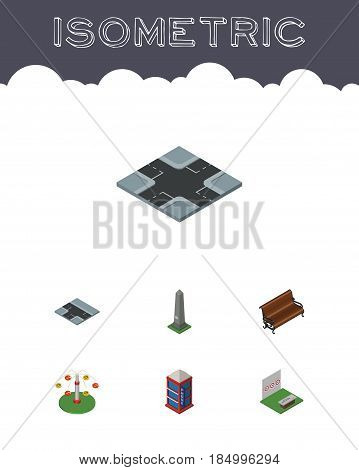 Isometric Street Set Of Intersection, Sitting, Aiming Game And Other Vector Objects. Also Includes Booth, Swing, Telephone Elements.