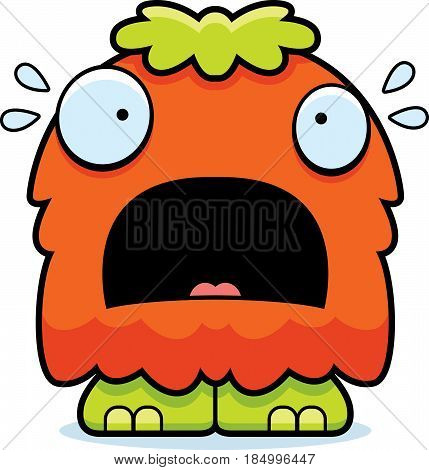 Scared Cartoon Fluffy Monster