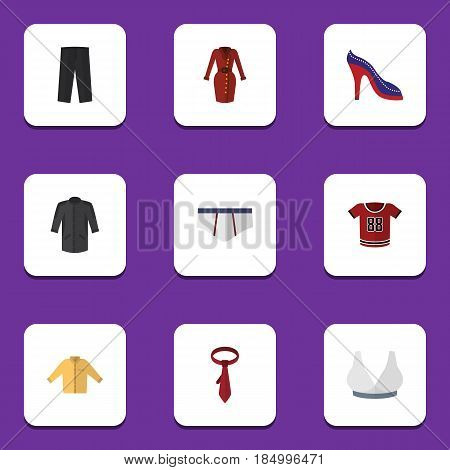 Flat Dress Set Of Heeled Shoe, T-Shirt, Uniform And Other Vector Objects. Also Includes Underclothes, Dress, Man Elements.