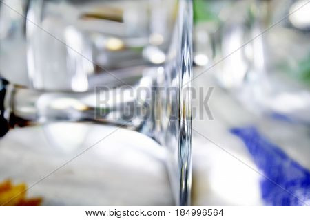 detail of stem and circular base of a crystal stemware for champagne