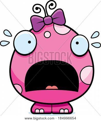 Scared Cartoon Baby Girl Monster