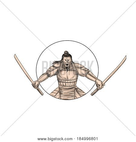 Tattoo style illustration of a Samurai warrior wielding two swords viewed from front set inside oval on isolated background.
