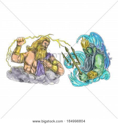 Tattoo style illustration of Zeus Greek god of the sky and ruler of the Olympian gods wielding holding a thunderbolt lightning versus poseidon holding trident surrounded by waves viewed from the side set on isolated white background.