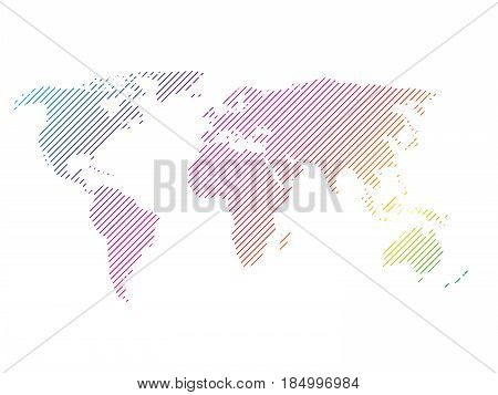 Hatched map of world in rainbow spectrum colors. Striped design vector illustration on white background.