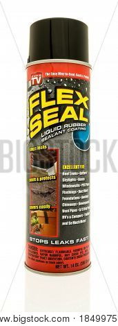 Winneconne WI - 2 May 2017: A can of Flex Seal liquid rubber sealant coating as seen on TV on an isolated background.