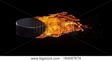 Flying Hockey Puck Engulfed In Flames