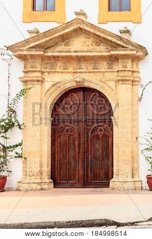 Church door located in Cartagena de Indias Colombia