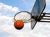a basketball swishes through the hoop. poster