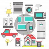 Internet of things iot home household appliances and car control security concept isometric banner abstract vector illustration. Iot home household appliances and car control security poster