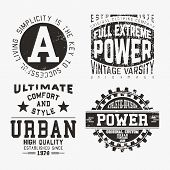 T-shirt print design. Set of various vintage stamp. Printing and badge applique label t-shirts jeans casual wear. Vector illustration. poster
